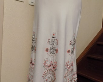 Mi long skirt in white color linen