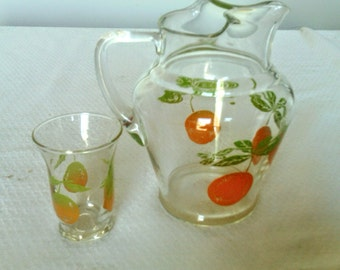 Juice Pitcher With Oranges And One Matching Glass