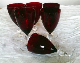 Six Vintage Elegant Ruby Red Small Wine Glasses With Clear Stems