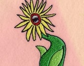 Angry flower iron-on patch