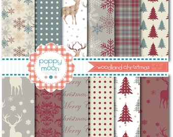 Woodland christmas deers and trees,  printable digital paper pack