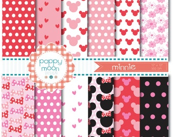 minnie mouse style in pinks and reds, Digital Paper Pack