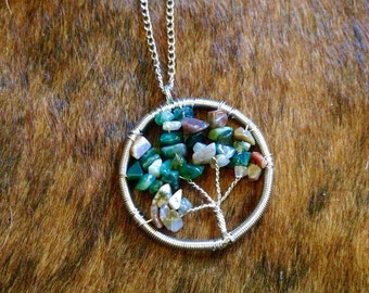 Tree of life Indian agate wire wrapped pendant necklace