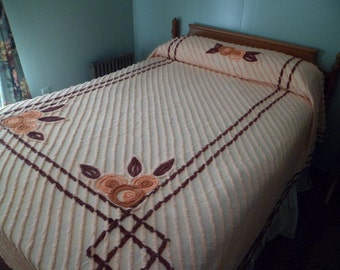 "Vintage Chenille Bedspread~90 x 104"" Peach Browns Floral~Lovely for your Cottage Bedroom!"