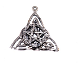 Wicca Star Triangle Sterling Silver Pendant