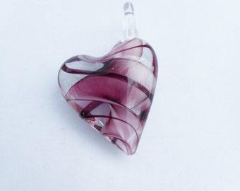 Glass heart,purple heart, murano glass, lampwork glass heart, glass pendant, heart pendant, large heart pendant, heart necklace, hearts