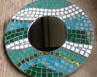 Stained Glass Mosaic Mirror, Teal and Turquoise, Hanging Mirror, Beach Decor, Round Mirror, Ocean Decor, Ocean Colors, Van Gogh Tiles