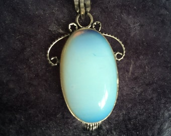 Opalite crystal pendant on cord necklace