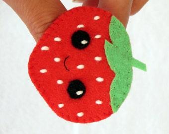Strawberry, felt brooch, kawaii brooch, kawaii fruit, kawaii strawberry, felt jewelry, kawaii felt, brooch, kawaii jewelry, girl brooch