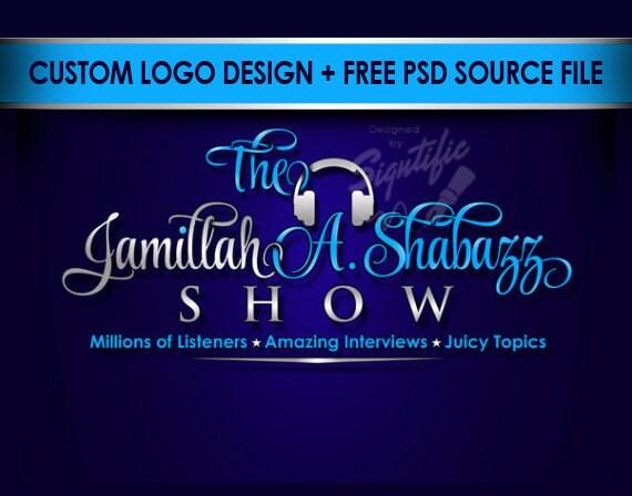 Super professional logo - FREE PSD source file, custom radio show logo design, elegant logo design, custom logo in any color scheme