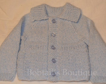 Toddler Boys Cardigan, Baby Boys Cardigan, Child's Cardigan, Collared Cardigan, Style 17, Made To Order, Merino Wool, Your Choice Of Colour