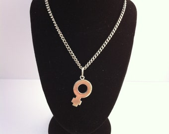 Silver Chain and Female Symbol Pendant
