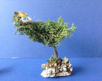 Unique Handmade Fairy garden Miniature Tree With Birds Nest. Fairy Garden Decor, Terrarium Decor, handmade Miniatures .