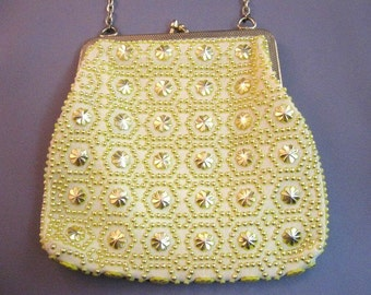 Vintage 1970's sweet yellow small beaded evening purse