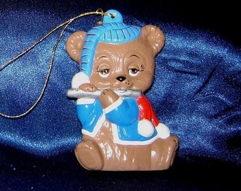 Teddy Bear with Flute Ceramic Ornament - Christmas Ornaments - Ceramic Ornaments - Bear Ornaments - Flute Ornament - Teddy Bear Ornaments
