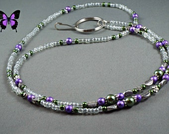 "Beaded ID name tag badge holder lanyard necklace with bead chain 30"" to 42"" keychain or key card leash purple and green glass pearls cute"