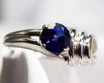 Blue Sapphire 6 mm  Round Ring