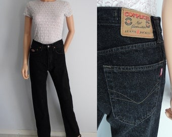 Black high waisted mom pants trousers jeans vintage tapered leg denim womens waist 27 Leg 33 Small