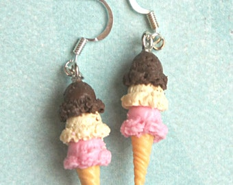 neapolitan ice cream earrings - miniature food jewelry, ice cream scoop earrings