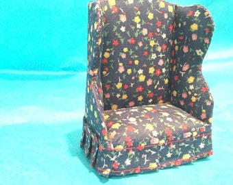 1:12 Scale Fabric Wing Chair - Vintage Miniature Chair