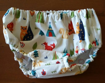 Baby Bloomers - 1 pair of bloomers - Nappy or Diaper Cover. Handmade. Size 2 toddler. Woodland Camping. Busy Work.