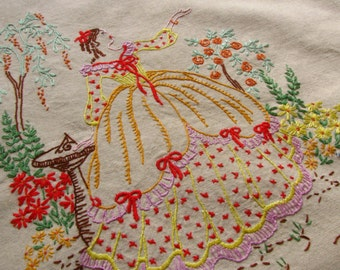 Ladies Genuine Vintage Linen & Lace Apron CRINOLINE LADY Embroidery Shabby Chic