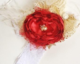 Handmade red flower hairclip