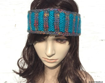 AQUA Headband, Aqua and Grey Womens Ear warmer,  Striped Headband, Womens Knit Headband, Hand Knit Headband