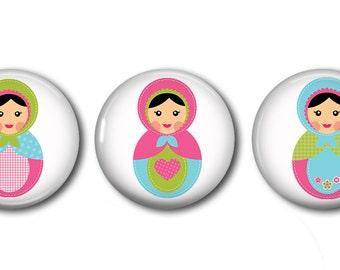 Babushkas Set of 3 Magnets or Button Badges 1 Inch (2.5cm)