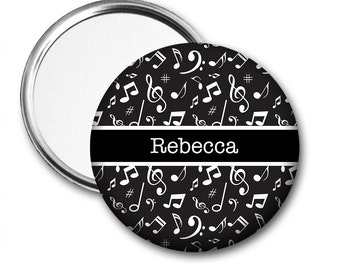 Pocket Mirror Personalised with Name - Music Notes 5.7cm (2.25 inches)