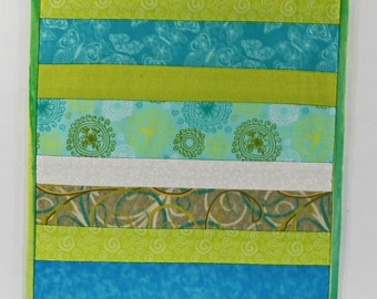 Quilted Table Runner, Striped Table Runner, Spring Table Runner, Blue and Green Table Runner, Quilted Table Topper, Kitchen Table Decor