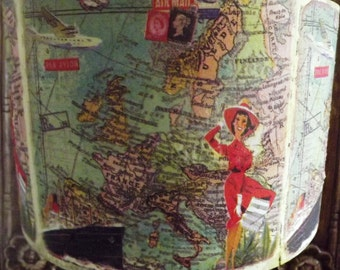 Vintage Europe Map 50's Chic ships stamps glamour girl Fatta da Mamma Free Gift