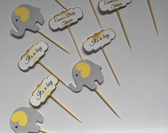 Elephant cupcake ,baby shower toppers