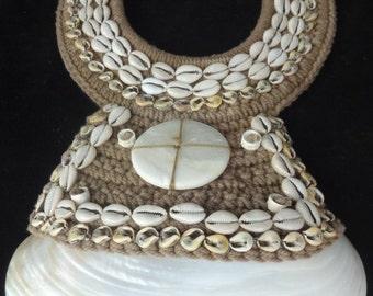 Tribal White Big Shell Necklace Home Decor Interior Designer Papua New Guinea Style