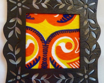 Fabric ornaments/ wall art /home accent with fancy hand-painted square wooden frames