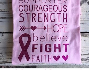 Monogrammed Breast Cancer Survivor or Supporter T-Shirt