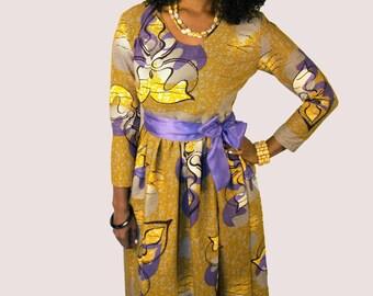 Esty Ankara Maxi Dress with two Pocket  and a Belt