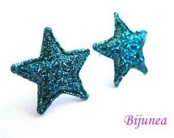 Star earrings - Blue Star studs - Star sky- Stars - Cute Star earrings - Star post earrings - Star stud earrings sf244