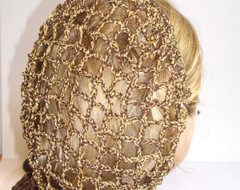 Vintage retro hand crochet hair snood/ Net - Brown and Gold
