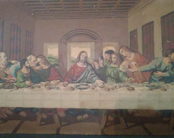"""Vintage 1960's The Last Supper Michelangelo Paint by Numbers 27"""" x 14"""""""