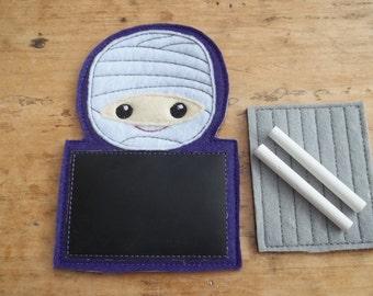 Mummy Chalkboard Buddy.  Halloween. Mummy. Chalkboard. Drawing. Travel.