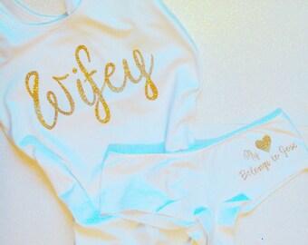 bride shirt bride underwear set bridal shower gift wedding gift