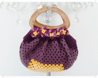 Crochet Bag, Crochet Purse, Crochet Handbag, Crochet Fat Bottom Bag, Summer Bag, Ivory Bag , Gift for Her