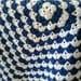 Baby Blanket , Crochet Baby Blanket , Navy Blue and White , Cotton Baby Blanket