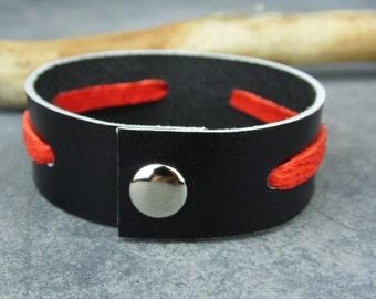 Mens Leather Bracelet / Red & Black Leather Bracelet / Mens Bracelet / Leather Bracelet / Black Leather Bracelet