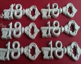 6 keys 18th birthday party edible sugar decorations cake cupcake toppers