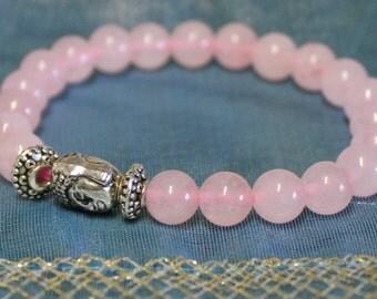 Pink Quartz Buddha Bracelet