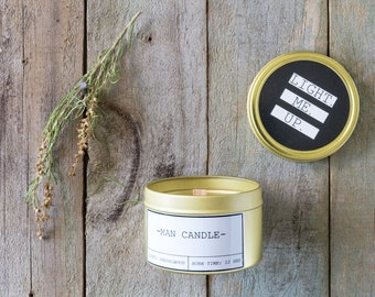 Man Candle wedding favour gift Travel Tin. Completely custom sticker. Soy candle bonbonniere.