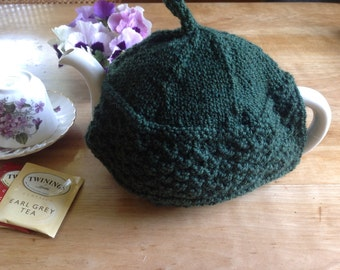 Hand knit wool tea cozy