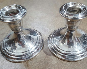 """Vintage GORHAM Silver COLONIAL YC3003 Candlestick Holders 3 1/2"""", Set of 2"""